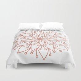 Mandala Blooming Rose Gold on White Duvet Cover