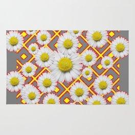 Shasta Daisies Red Pattern Art Grey abstract Rug