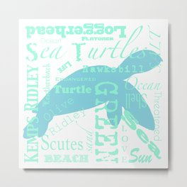 Abstract Sea Turtle Metal Print