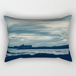 Silver Dawn on the Moroccan Coast. Seascape Photography. Rectangular Pillow