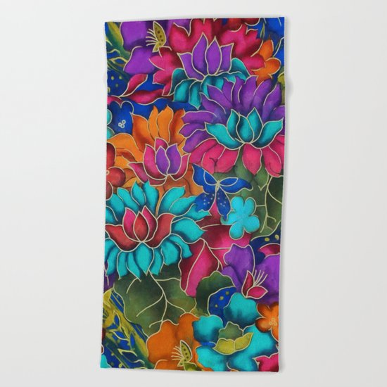 Colorful floral fantasy Beach Towel
