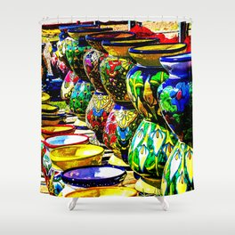 Talavera Pottery Jars for Sale in New Mexico Shower Curtain