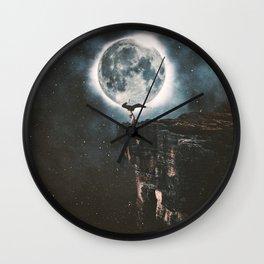Yoga Under The Moon Light Wall Clock