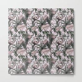 Boho pattern of purple proteas Metal Print