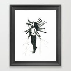 boy draws wings Framed Art Print
