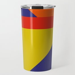 Random colored parallelepipeds flying in a cool blue space Travel Mug