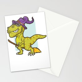 Witch T Rex Dinosaur Halloween Funny Sunglasses Stationery Cards
