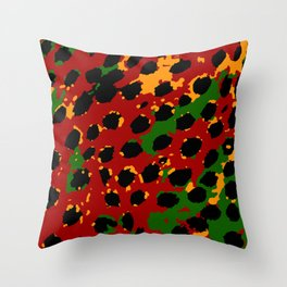 Cheetah Spots in Red, Yellow and Green Throw Pillow