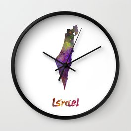 Israel  in watercolor Wall Clock