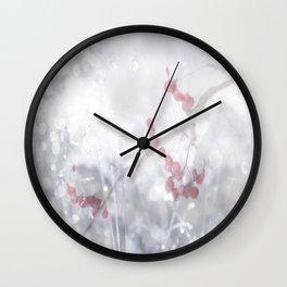 Winter Scene Rowan Berries With Snow And Bokeh #decor #buyart #society6 Wall Clock