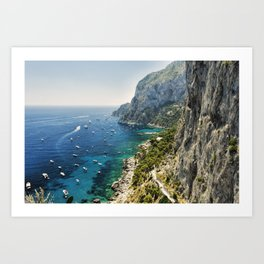 View of a Rugged Coastline, Marina Piccola, Capri, Campania, Italy Art Print