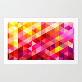 Pink & Yellow Geo Art Print