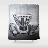 drum Shower Curtains featuring A drum family by simeon