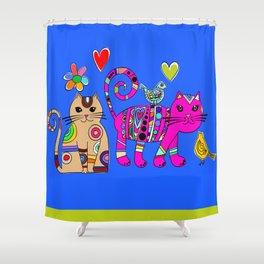 Kitties and birds Shower Curtain