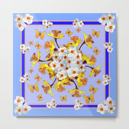 """Joy Of Spring"" Daffodils in Blue Shades Metal Print"