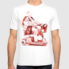 Lady in Power Chair MEDIUM White Mens Fitted Tee