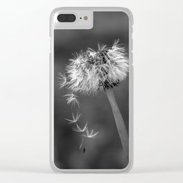 Black and white dandelion flying petals Clear iPhone Case
