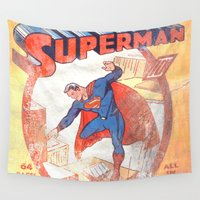 superman Wall Tapestries featuring Superman Poster by Fernando Vieira