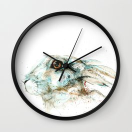 Scared blue hare Wall Clock