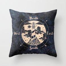 Compass World Star Map Throw Pillow