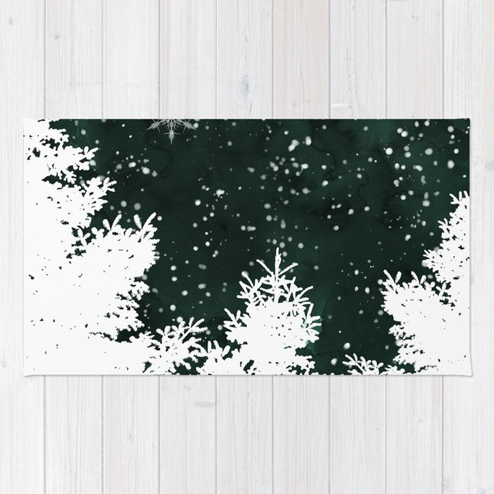 Pine snowflakes winter snow christmas green deep forest watercolor Rug