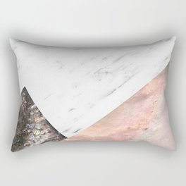 Marble with sequins and mother of pearl Rectangular Pillow