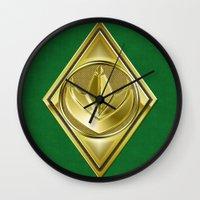 power ranger Wall Clocks featuring Green Ranger by Joshua Epling