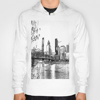 portland Hoodies featuring portland skyline by silverylizard