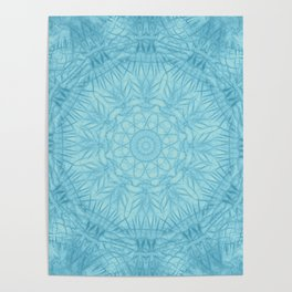 Abstract blue thistle mandala Poster