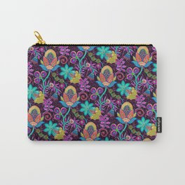 Colorful Glass Beads Look Retro Floral Design Carry-All Pouch