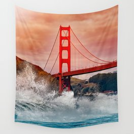 Waves over Red Bridge Wall Tapestry