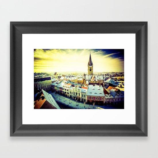 Cityscape of Sibiu, Romania Framed Art Print
