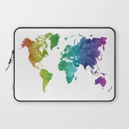 World map in watercolor rainbow Laptop Sleeve