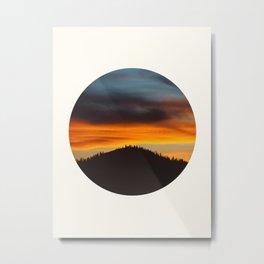 Mid Century Modern Round Circle Photo Graphic Design Orange And Blue Sunset Pine Forest Hill Metal Print