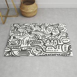 Magic Creatures Black and White Street Art Graffiti by Emmanuel Signorino Rug