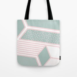 Modern Memphis Illustration - Gemetrical  Retro Art in Pink and Mint -  Mix & Match With Simplicity Tote Bag