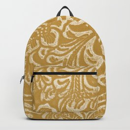 Tan & Cream Tooled Leather Backpack