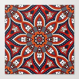 Painterly Nature Boho Floral Mandala Canvas Print