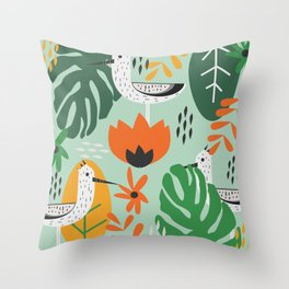 Birds and tropical botany Throw Pillow