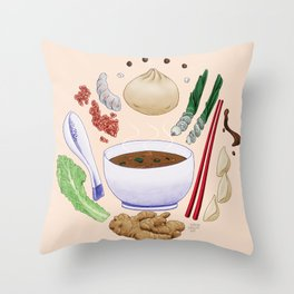 Dumpling Diagram Throw Pillow