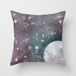 Cosmic Blue and Purple Sky with Moon  Throw Pillow
