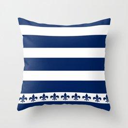 Horizontal Stripes Blue and White Fleur de Lis Throw Pillow