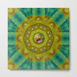 mandala in peace and feathers Metal Print