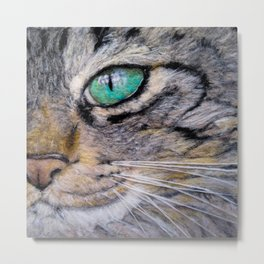 Needle felted close up tabby cat Metal Print