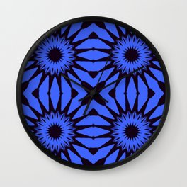 Blue Black PinwheeL Flowers Wall Clock
