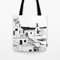 greek Tote Bags featuring Greek Island by KostasK