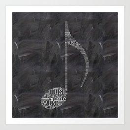 Chalkboard music note Art Print
