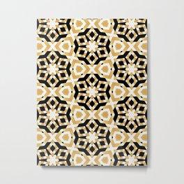 Gold Foil Art Deco Star Pattern Metal Print
