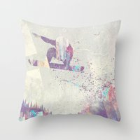 snowboard Throw Pillows featuring Explorers IV by HappyMelvin