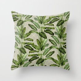 Palms on Square Shingles Pattern - Grey White Gold Throw Pillow